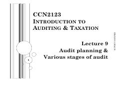 CCN2123_lect 9_audit planning and stages of audit