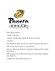 does panera bread have any core competencies or distinctive competencies C a s e 8 panera bread company assignment questions 1 what is panera bread's strategy does the company have any core competencies or distinctive competencies 3.