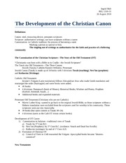 Christian Canon Notes
