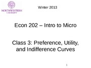 class 3 - Preferences, Utilit & Indifference Curves