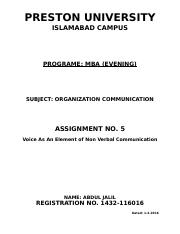 Assignment 5 Voice as an element of non verbal communicationl.docx