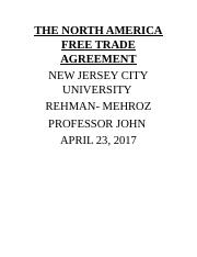 THE NORTH AMERICA FREE TRADE AGREEMENT