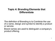 Branding strategy Topic 4 and 5