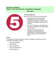 Week 5 - The Five Generic Competitive Strategies