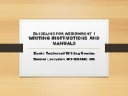 Assignment 1 Guideline