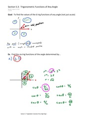 Section 5.3  Trigonometric Functions of Any Angle