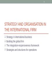 Topic 11 Strategy and organisation in the international firm