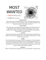 MOST WANTED (BIOLOGY)