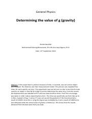 Determining the value of g