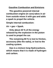 gasoline combustion notes