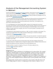Analysis of the Management Accounting System in Walmart