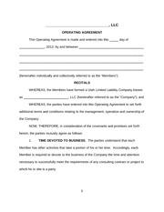 Longformoperatingagreement operating agreement forname of llc 9 pages llc operating agreement template platinumwayz