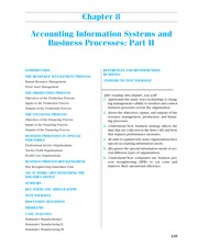 CHAPTER 8 Accounting Information Systems and Business Processes; Part II