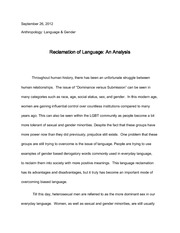 Language Sex and Gender Essay