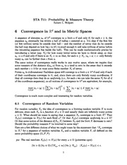 Week 6 Lecture Notes on Convergence