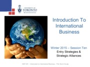 MGT 491- Entry Strategies - Winter 2015