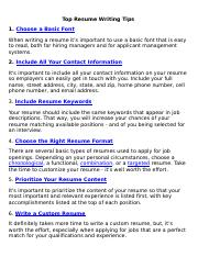 Top 8 Resume Writing Tips