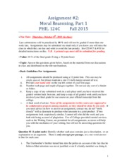 Assignment 2 on Moral Reasoning F15