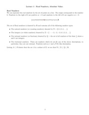 Lecture 1, Real Numbers Absolute Value