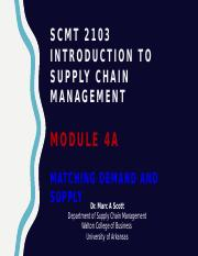 SCMT 2103 - Introduction to Supply Chain Management - Module 4a - Matching Supply and Demand - Black