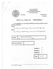 Electrical Engineering 141 - Fall 2000 - Rabaey - Midterm 2
