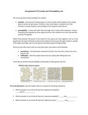 Copy of Earl Chism - Assignment 33 Porosity - 2361530.3 Porosity and Permeability Lab Handout.docx