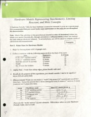 Reactant and Mole Concepts Worksheet