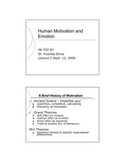 Human Emotion and Motivation Theory