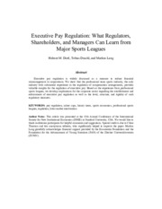 Executive pay regulation; what regulators, shareholders, and managers can learn from major sports le