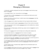 Chapter Nine - Managing to Milestones