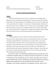 Earth Science Weathering Lab Essay