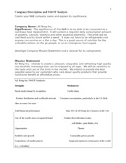 bus 599 Assignment 1 Company Description and SWOT Analysis