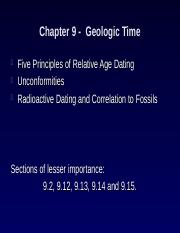What are the five principles of relative age dating