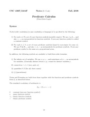 Predicate Calculus Lecture Notes