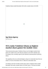 NCA ranks Vodafone Ghana as highest market share gainer for mobile voice