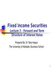 REVISED Lecture 3 TERM STRUCTURE OF INTEREST RATES