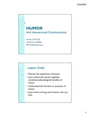 Lecture 22. Humor and Interpersonal student