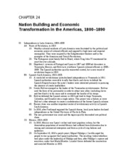 23 - Nation Building and Economic Transformation in the Americas, 1800 - 1890