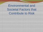 Chp 2 Environmental and Societal Factors that Contribute to Risk