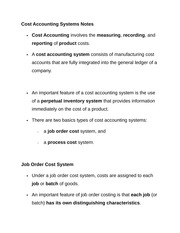 Cost Accounting Systems Notes