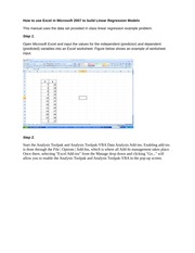2010-Guide for solving Linear Regression problems - Excel