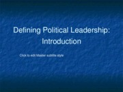 Defining Political Leadership Intro