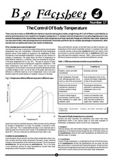 017 - The Control Of Body Temperature