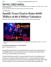 Spotify Nears Deal to Raise $400 Million at $8Apr2015