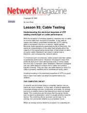 Cable Testing