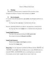 Ablative of Manner Study Guide