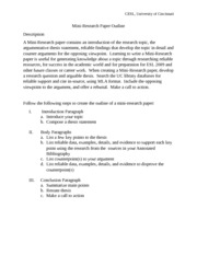 Mini Research Paper Outline Instruction