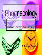 MBBS (Introduction to Pharmacology) Lecture 1 09 09 2014