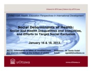 LECTURE 2 - Social Determinants of Health