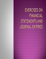 Exercises on Journal Entries and Financial Statements.ppt